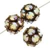 Rhinestone Bead 12mm Antique copper/ Crystal Aurora Borealis